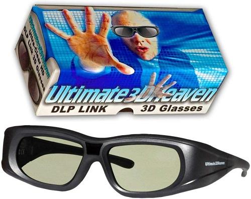 3D HEAVEN ULTRA CLEAR HD 14 Hz DLP LINK 3D ACTIVE RECHARGEABLE SHUTTER GLASSES
