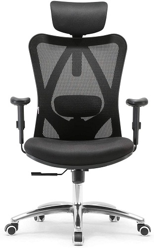 SIHOO office chair ergonomic with breathable mesh design, adjustable headest and lumbar support